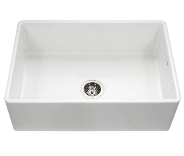Houzer Platus Series Farmhouse Apron Front Fireclay  In Single Bowl Kitchen Sink In White
