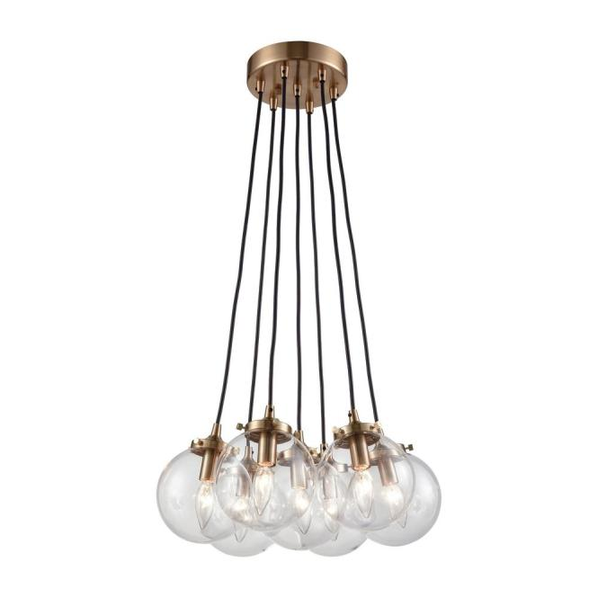 An Lighting Boudreaux 7 Light Matte Black And Antique Gold Chandelier With Clear Glass Globe