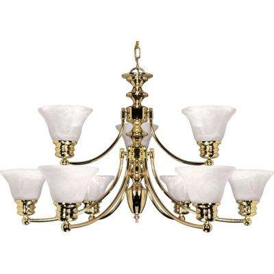 9 Light Polished Brass Chandelier With Alabaster Glass Bell Shades
