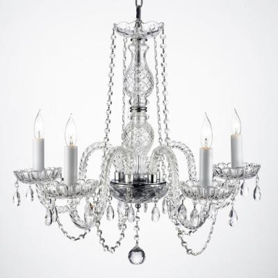 Empress 5 Light Clear Crystal Plug In Chandelier