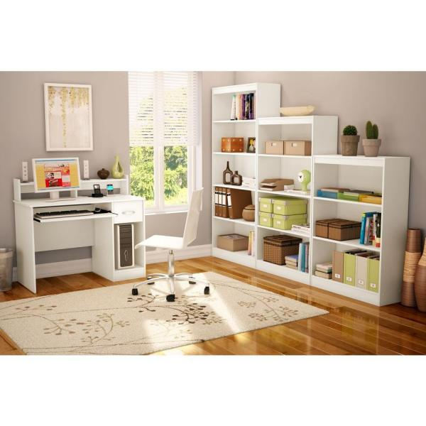 South Shore 41 In Pure White Rectangular 1 Drawer Computer Desk