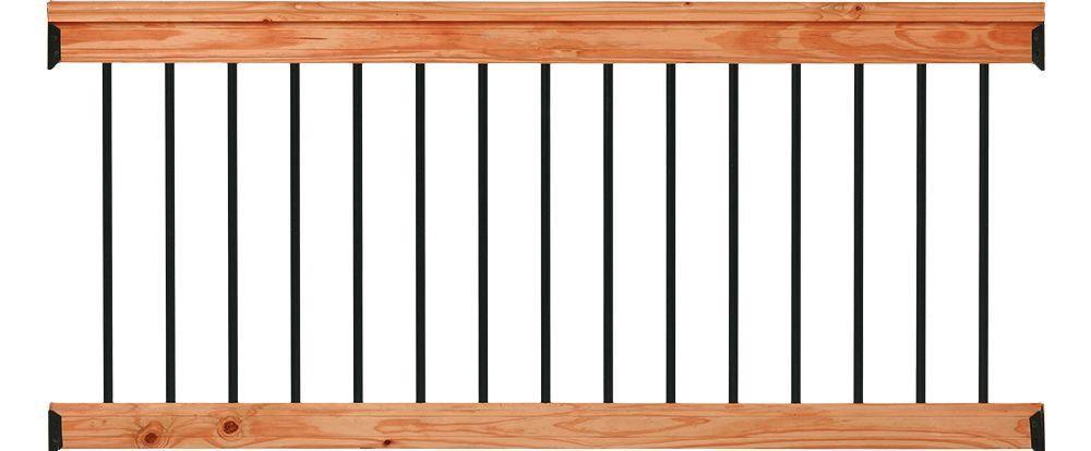 Deckorail 6 Ft Redwood Deck Rail Kit With Black Aluminum   Prefab Stairs Outdoor Home Depot   Mobile Homes   Stair Stringer   Patio   Precast Concrete Steps   Deck Railing