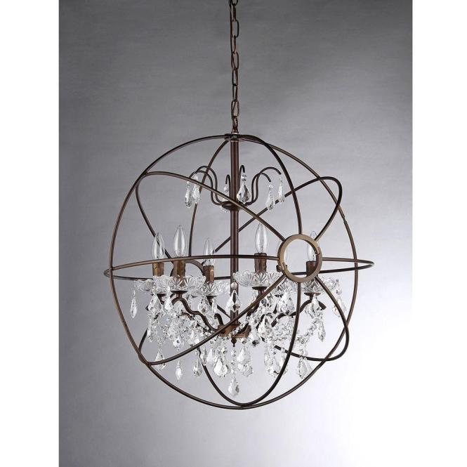 Warehouse Of Tiffany Edwards 6 Light Antique Bronze Sphere Crystal Chandelier With Shade Rl8049 The Home Depot