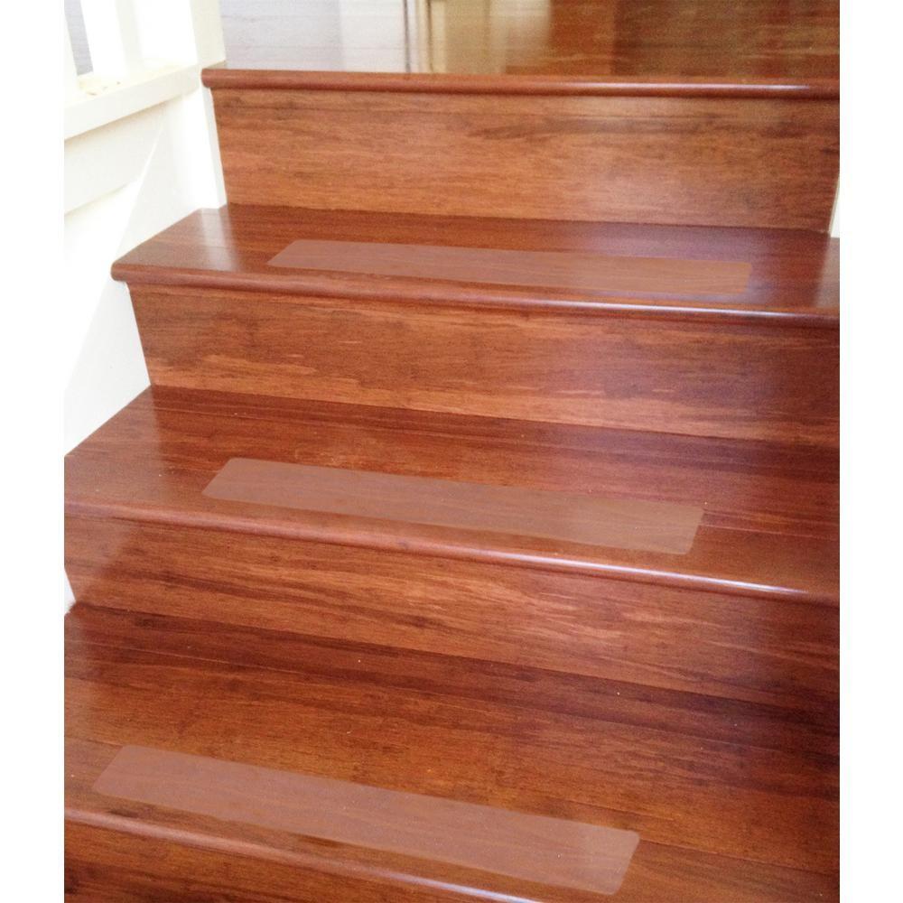 Ottomanson Safety Treads Clear 4 In X 26 In Peva Plastic Stair | Individual Stair Carpet Treads | Non Slip Stair Runner | Flooring | Slip Resistant | Anti Slip | Beige