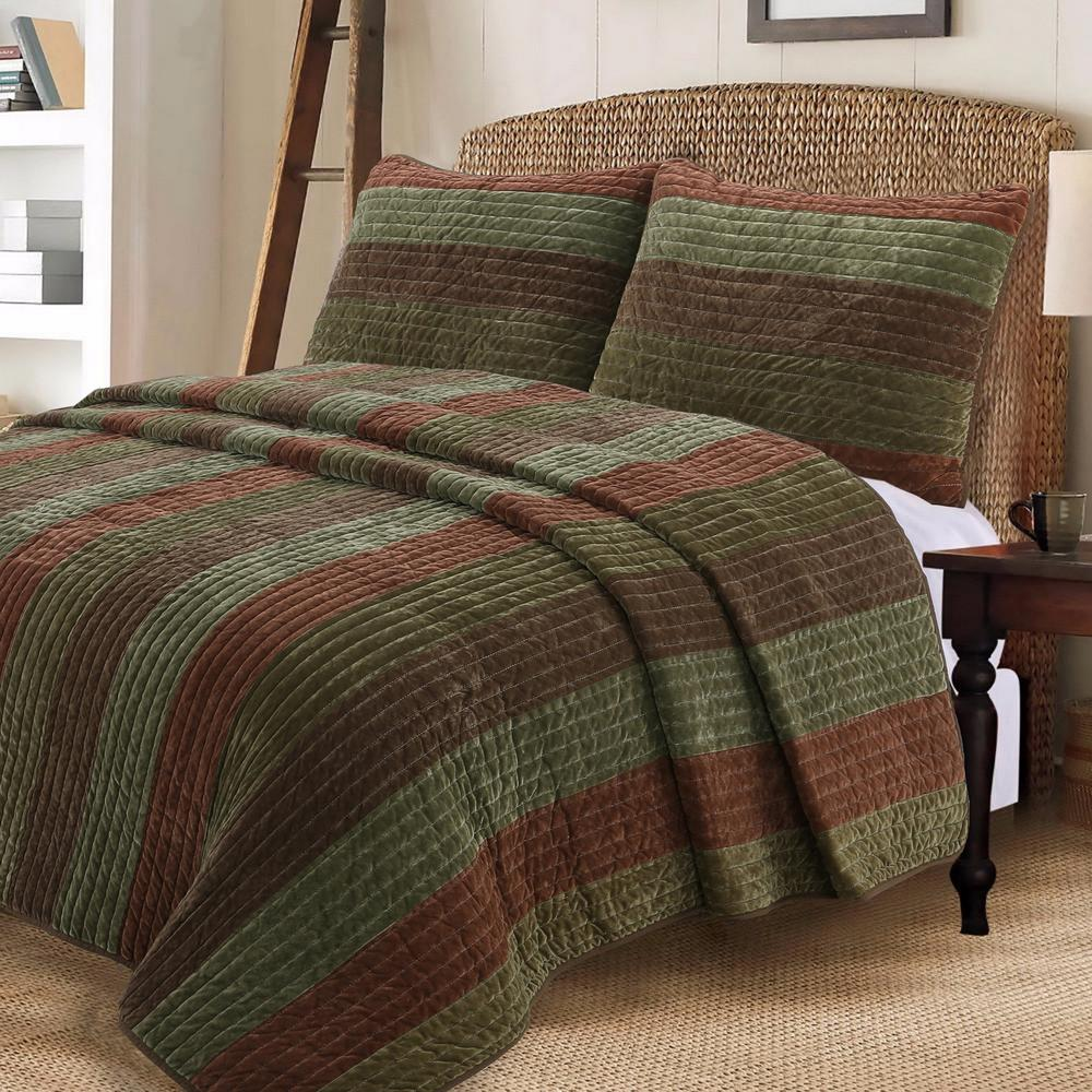 cozy line home fashions warm country woods 3 piece dark brown green cotton king quilt bedding set bb20180902k the home depot