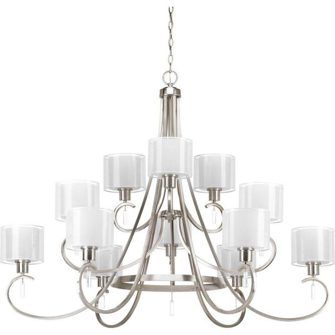 Progress Lighting Invite Collection 12 Light Brushed Nickel Chandelier With Shade P4725 09 The Home Depot