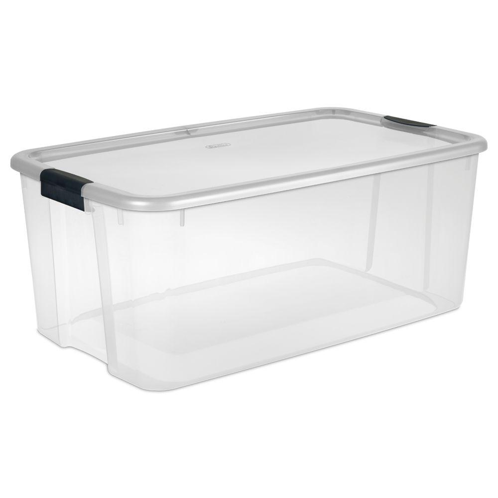 Amazing 100 Gallon Clear Storage Bins - clear-base-with-clear-lid-and-black-latches-sterilite-storage-bins-totes-19908604-64_1000  Trends_391456.jpg