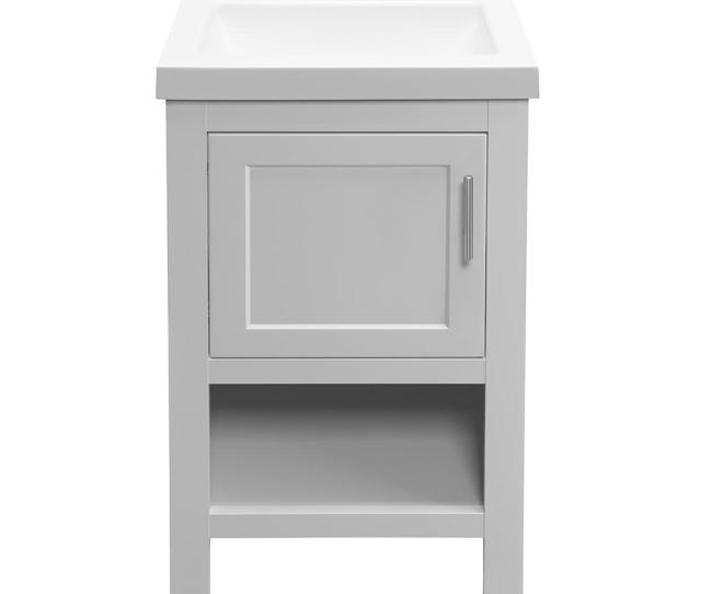 W Bath Vanity In Dove Gray With Cultured Marble Vanity Top In White With White Sink