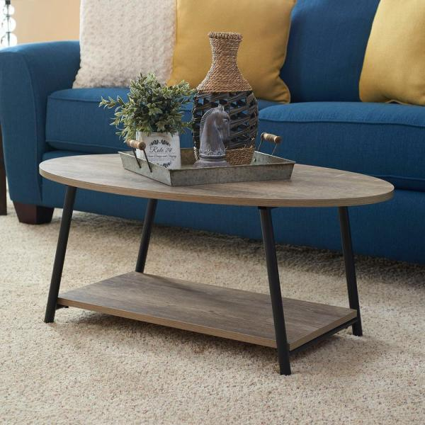 brown medium oval wood coffee table