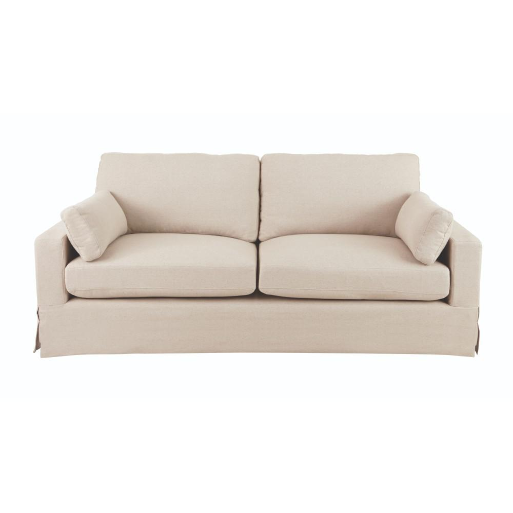 Sofas   Loveseats   Living Room Furniture   The Home Depot Addilyn Linen Jute Sofa