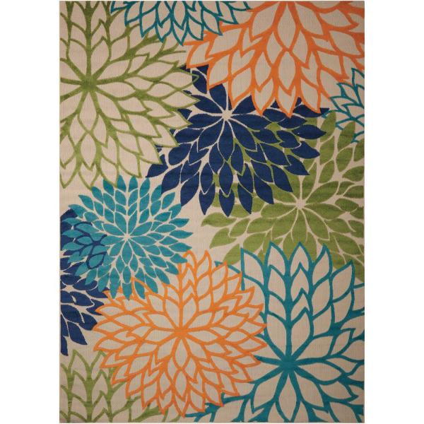 Nourison Aloha Multicolor 5 Ft X 7 Ft Floral Modern Indoor Outdoor Area Rug 242723 The Home Depot