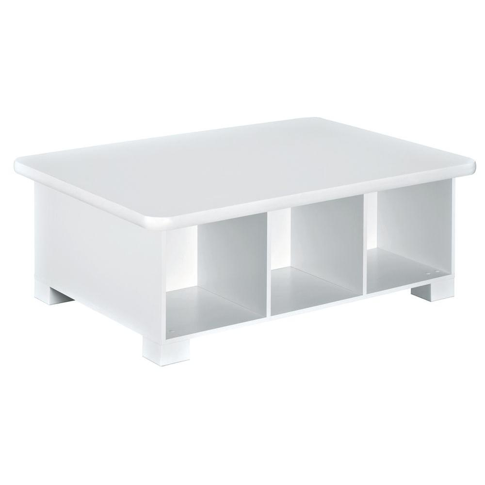 closetmaid 40 in w x 15 in h white 6 cube activity table 1599 the home depot