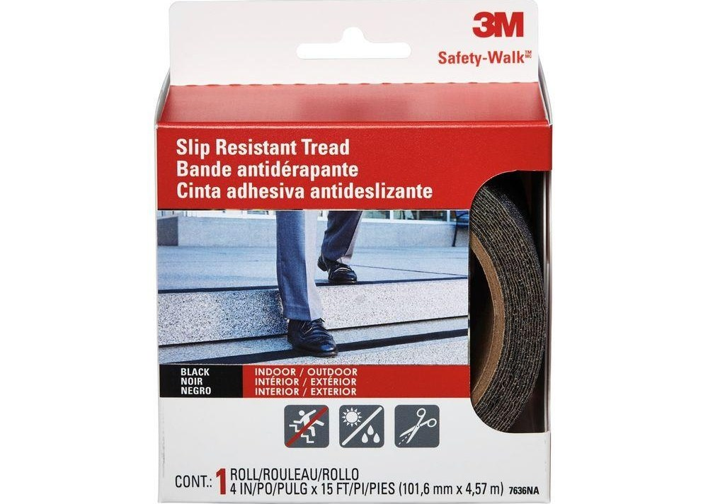 3M 4 In X 15 Ft Safety Walk Step And Ladder Tread Tape 7636Na   Outdoor Stair Treads Home Depot   Vinyl Stair Risers   Cedar Tone   Square Nose Stair   Carpet   Non Slip