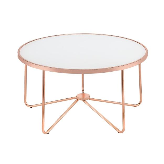 acme furniture alivia frosted glass and rose gold coffee table-81835