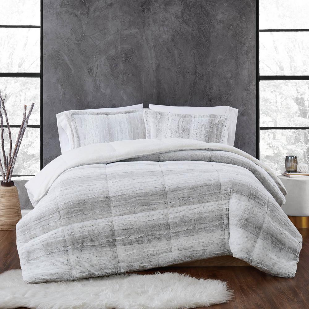 unbranded snow leopard 3 piece grey faux fur full queen comforter set cs3769gyfq 1700 the home depot