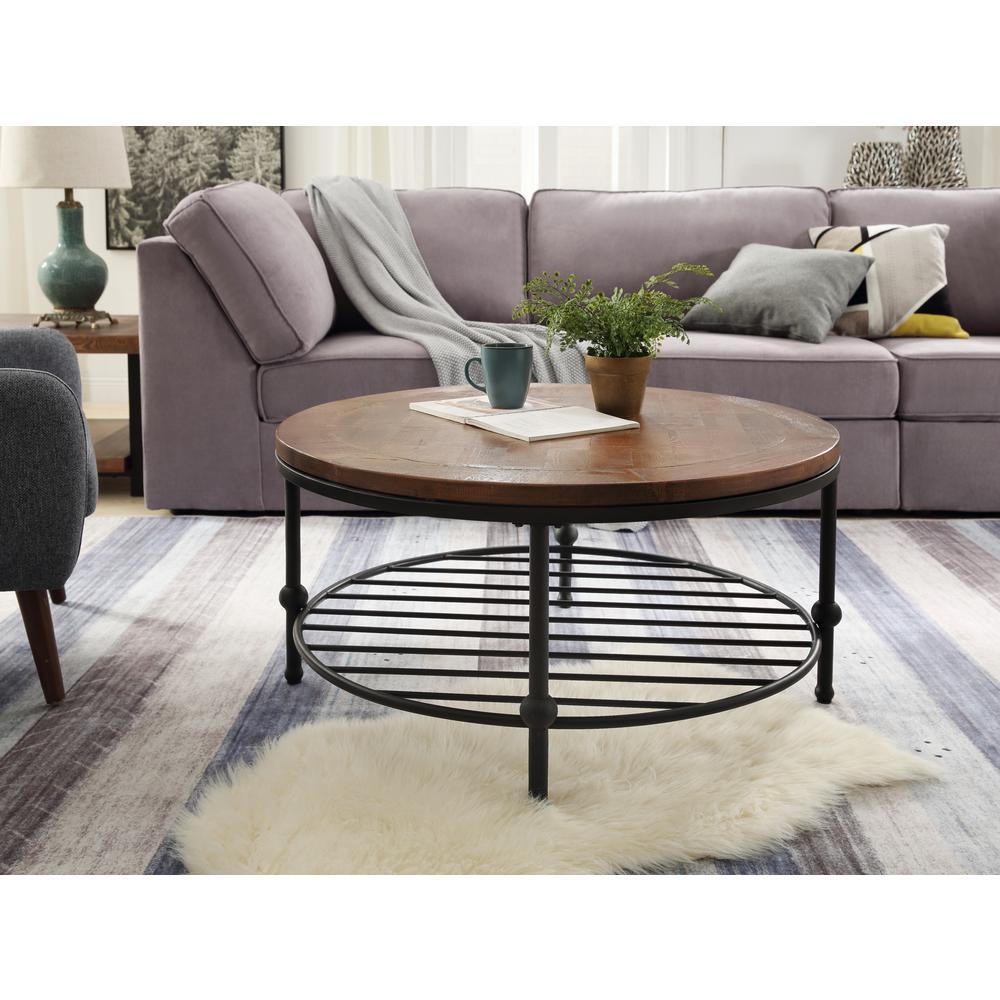 harper bright designs 36 in brown black medium round wood coffee table with storage shelf wf188190daa 1 the home depot
