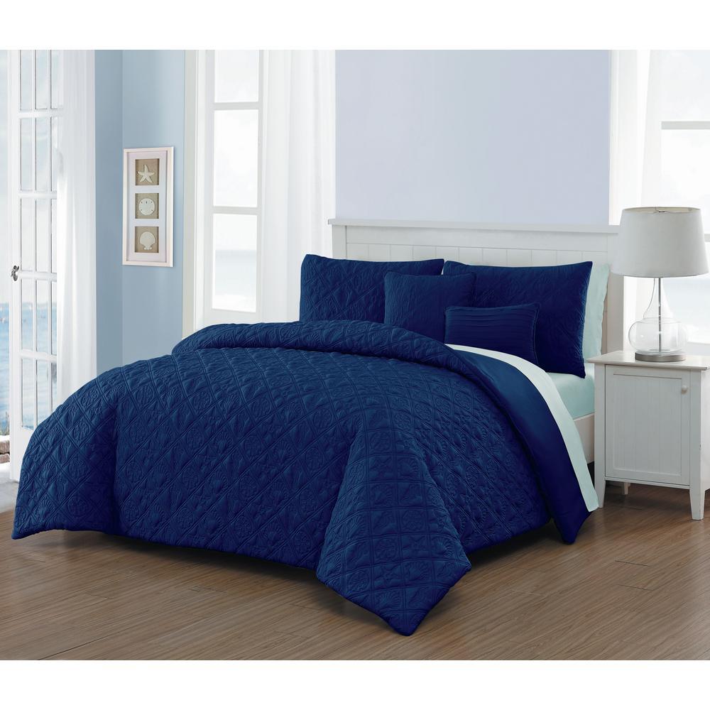 avondale manor del ray 9 piece navy light blue king comforter set dlr9cskingghnb the home depot