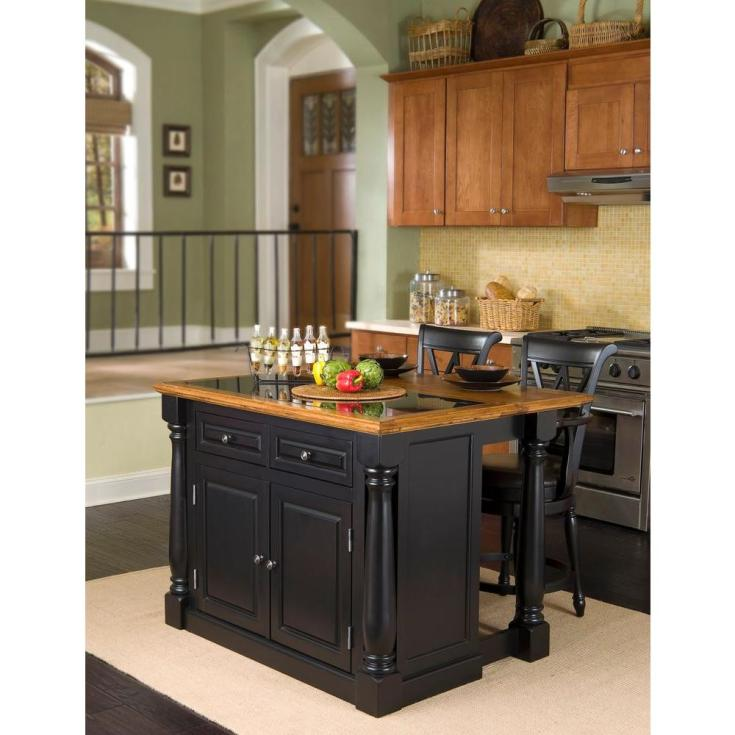 home styles monarch black kitchen island with seating-5009-948 - the