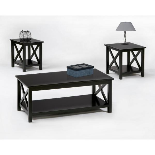 seascape i 3 piece textured black rectangle wood coffee table set with lift top