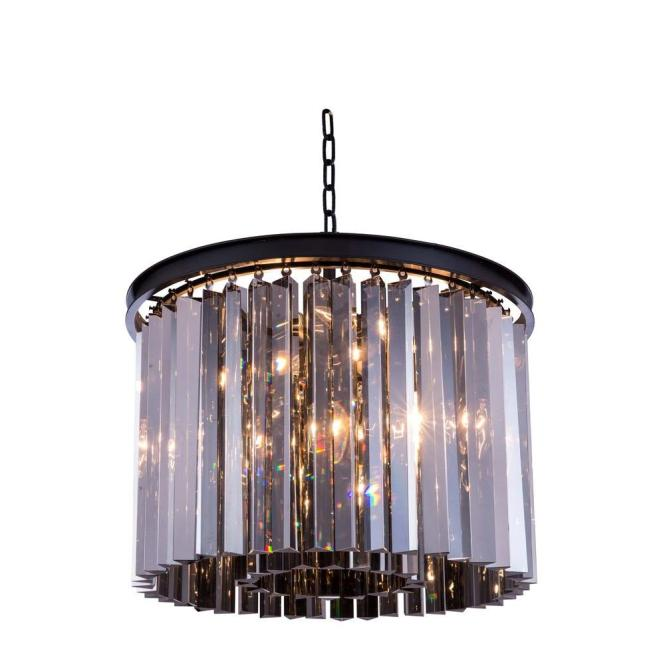 Elegant Lighting Sydney 6 Light Mocha Brown Chandelier With Silver Shade Grey Crystal 1208d20mb Ss Rc The Home Depot