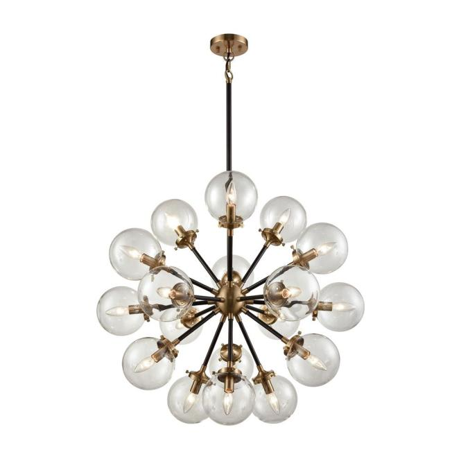 An Lighting Boudreaux 18 Light Matte Black And Antique Gold Chandelier With Clear Glass Globe