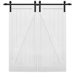 MMI Door 72 in. x 84 in. Primed Z-Plank MDF Barn Door with Sliding Door Hardware Kit