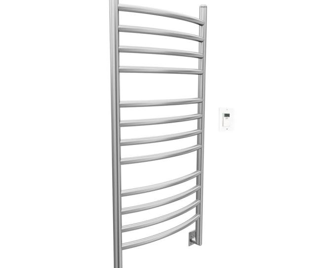 Ancona Svelte Rounded  In Hardwired Electric Towel Warmer And Drying Rack In Brushed Stainless