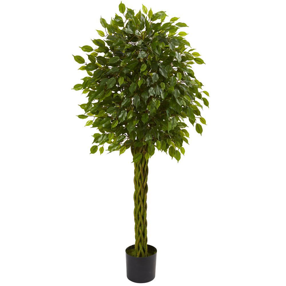 Nearly Natural 5 Ft UV Resistant IndoorOutdoor Ficus