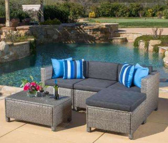 Puerta Gray  Piece Wicker Outdoor Sectional With Black Cushions