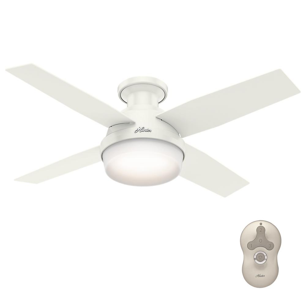 Hunter Dempsey 44 In Low Profile LED Indoor Fresh White Ceiling Fan With Universal Remote 59244