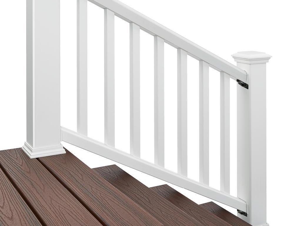 Trex 6 Ft X 36 In White Rail And Round Aluminum Baluster Stair   Trex Enhance Stair Railing   Trex Deck Railing Installation   Clam Shell   Lighting   Installation Instructions   Composite Decking