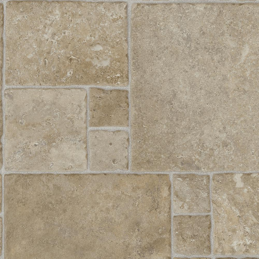 trafficmaster sandstone mosaic vinyl sheet sold by 12 ft wide x custom length