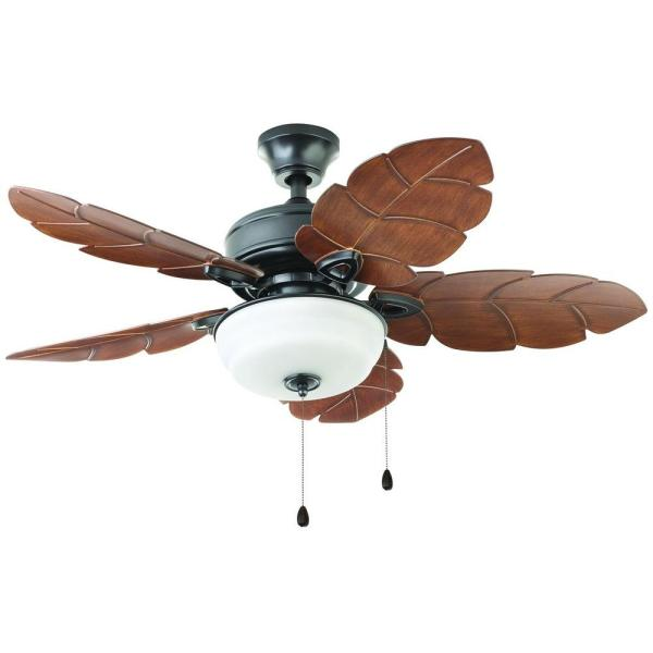 Home Decorators Collection Palm Cove 44 in  LED Indoor Outdoor     Home Decorators Collection Palm Cove 44 in  LED Indoor Outdoor Natural Iron Ceiling  Fan with Light Kit 51544   The Home Depot