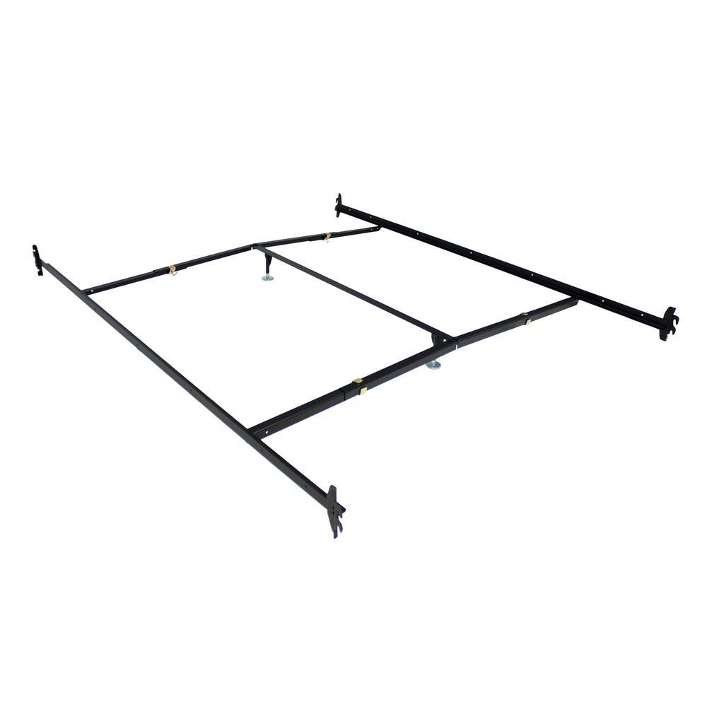 hollywood bed frame black adjustable bedframe headboard footboard hook on bed rails 490r i the home depot