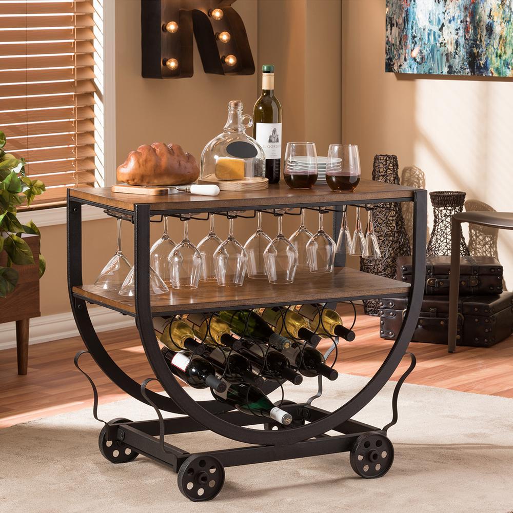 Baxton Studio Triesta Medium Brown And Bronze Wine Cart