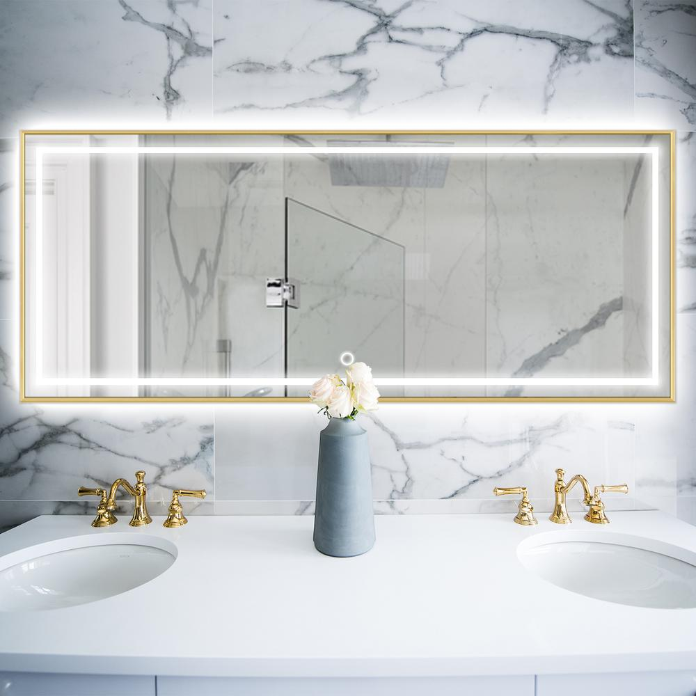 jl creation 55 in x 20 in gold metal framed led single bathroom mirror harlan gold 14050 the home depot