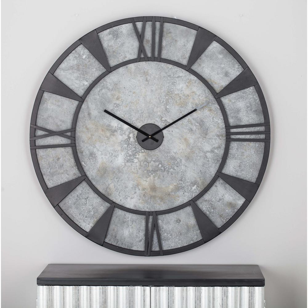 Litton Lane 35 In X 35 In Modern Iron And Wood Wall Clock 27278 The Home Depot