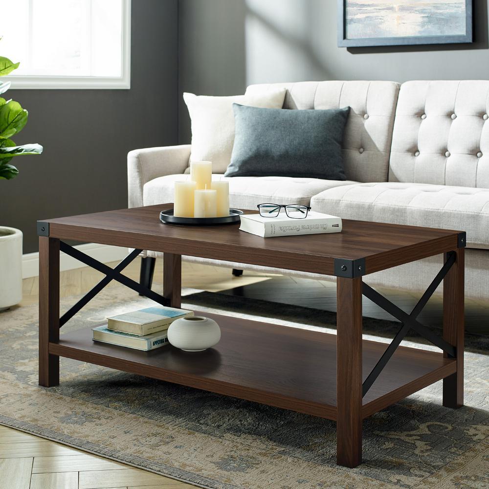 walker edison furniture company 40 in dark walnut medium rectangle mdf coffee table with shelf hd8249 the home depot