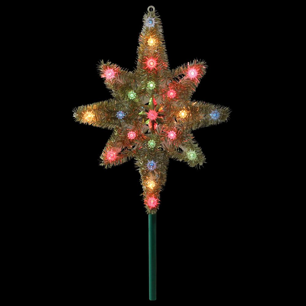 Northlight 21 In Gold Tinsel Star Of Bethlehem Christmas Tree Topper In Multi Lights 33406544 The Home Depot