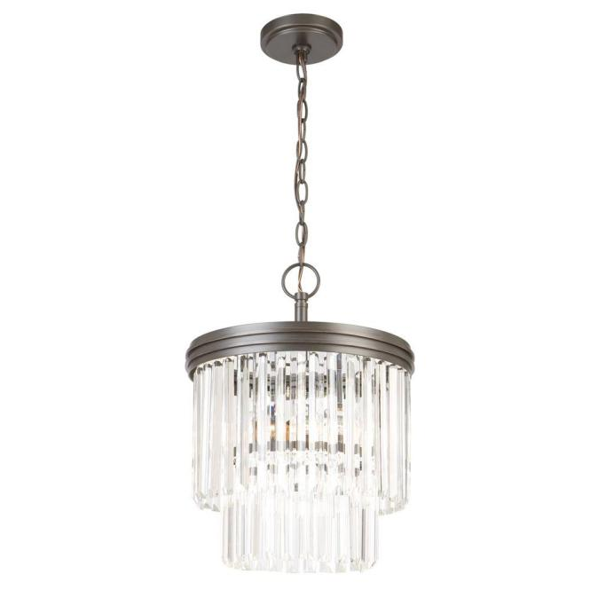 Hampton Bay 2 Light Oil Rubbed Bronze Crystal Tier Chandelier Igw8992a The Home Depot