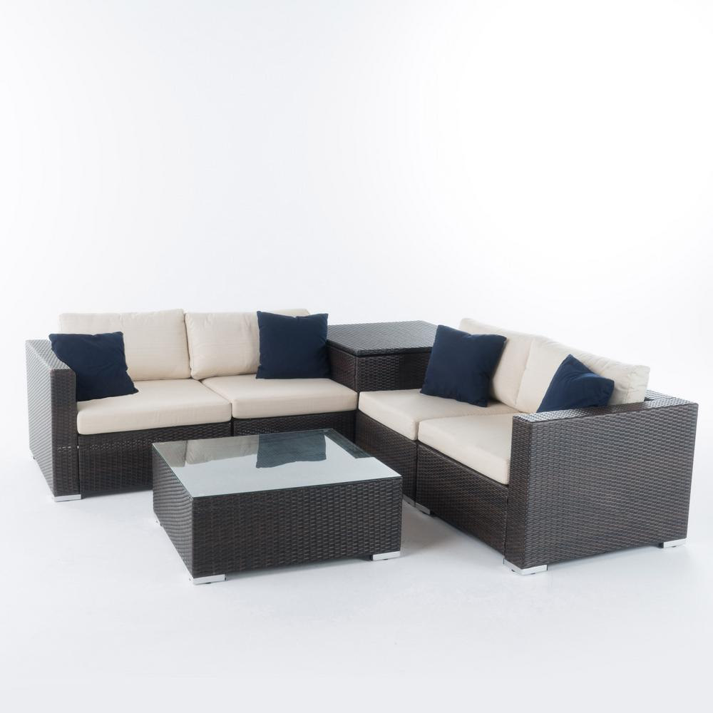 noble house dominique 6 piece wicker outdoor sectional set with beige cushions and includes storage 11470 the home depot