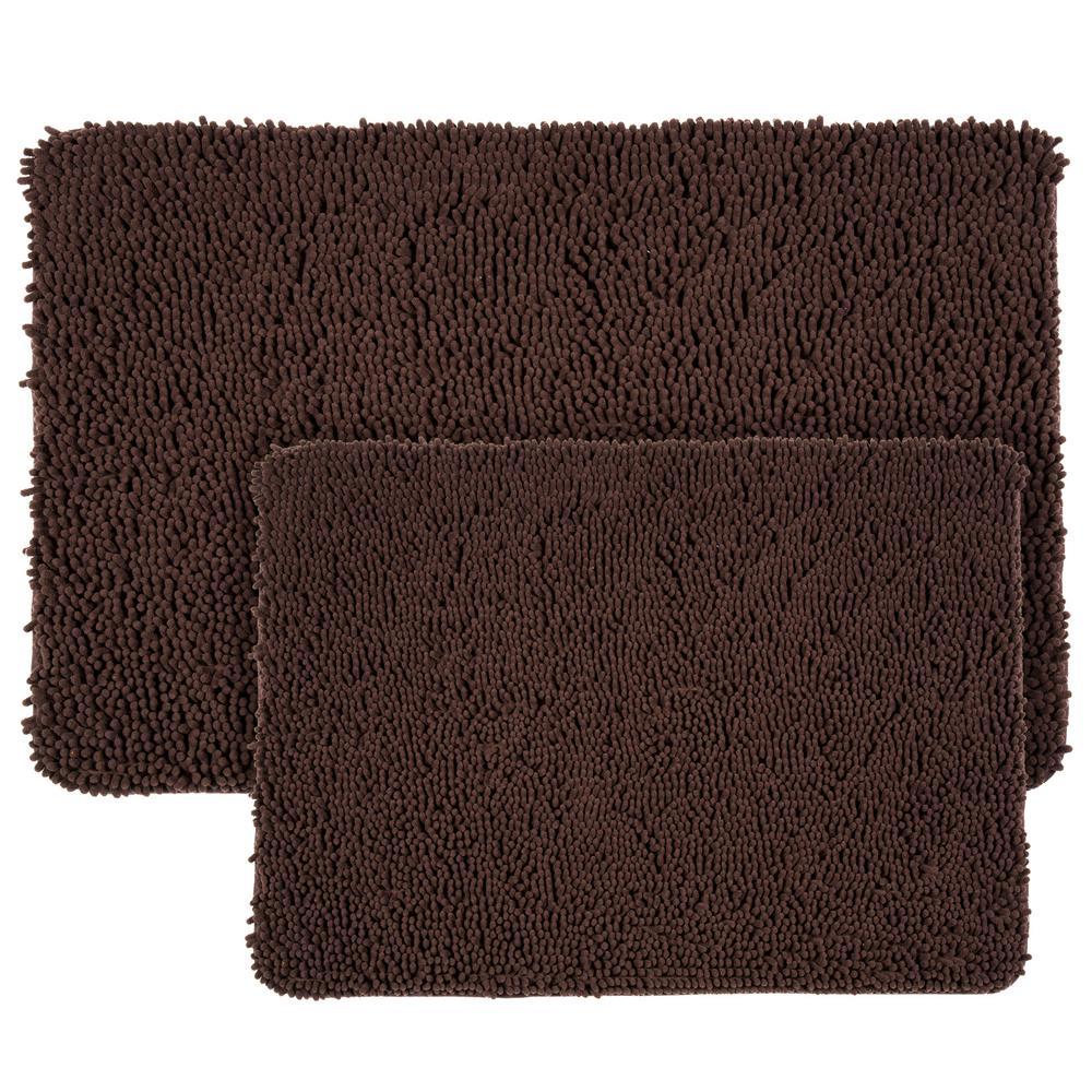 lavish home shag chocolate 21 in x 32 in memory foam 2 piece bath mat set 67 18 c the home depot