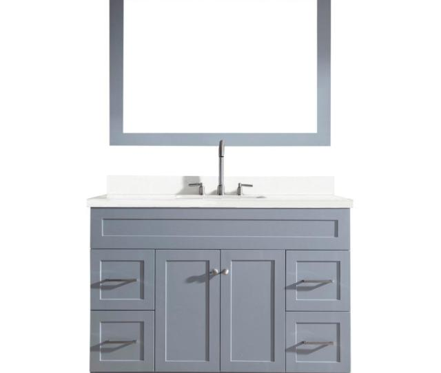 Bath Vanity In Grey With Quartz Vanity Top In White With