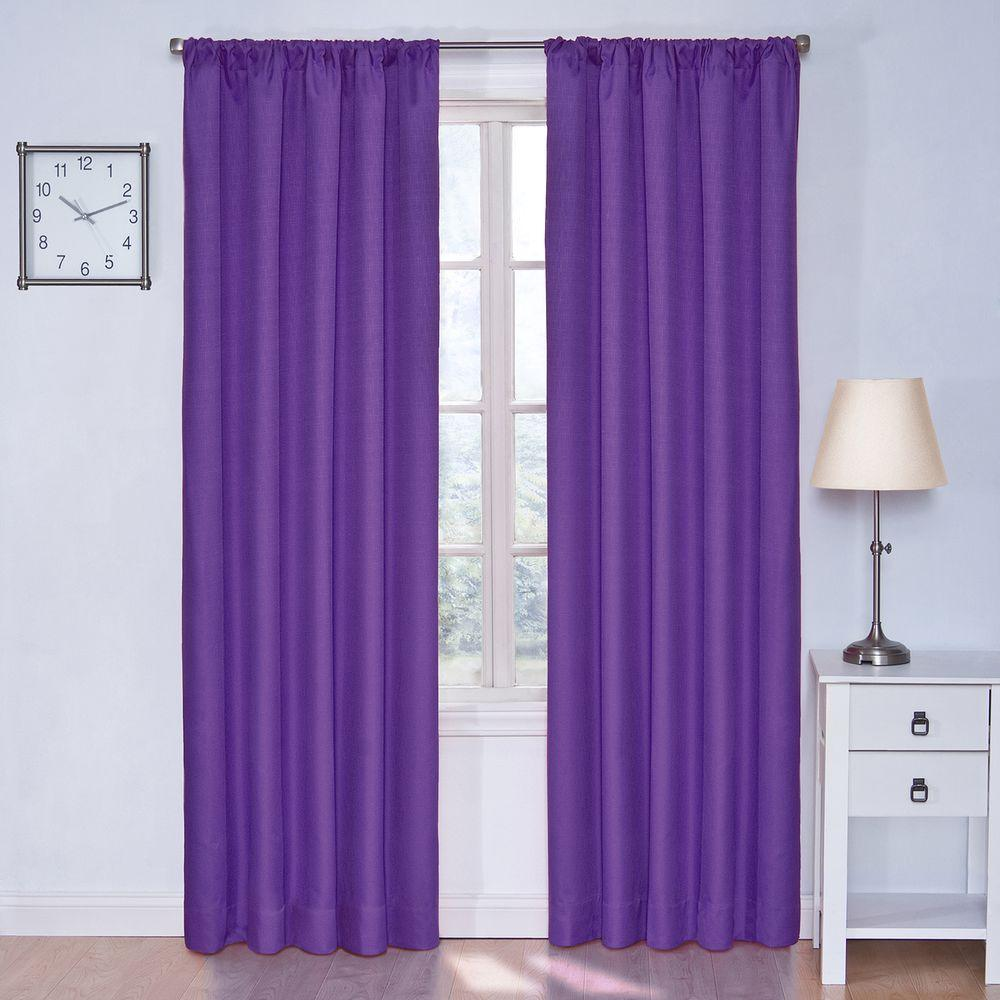 Eclipse Kendall Blackout Purple Curtain Panel 84 In Length 10707042X084PUR The Home Depot
