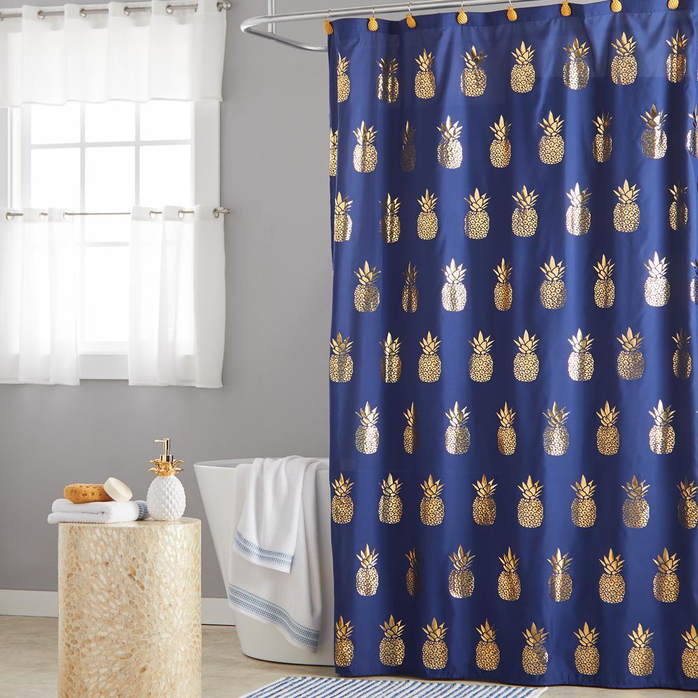 gilded pineapple shower curtain hooks
