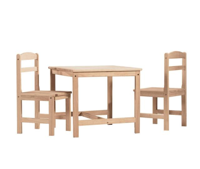 17a5bb6d4de International Concepts 3 Piece Unfinished Childrens Table And Chair Set
