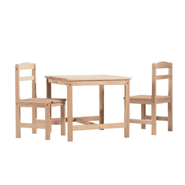 International Concepts 3 Piece Unfinished Childrens Table And Chair Set