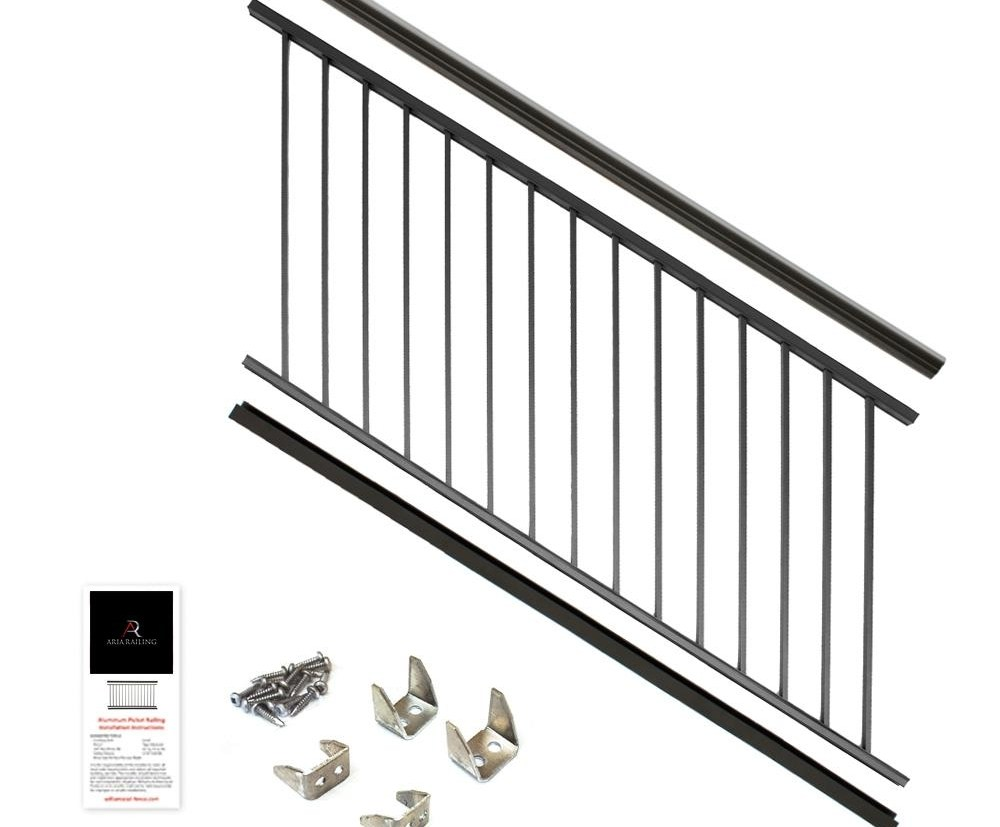 Aria Railing 36 In X 6 Ft Black Powder Coated Aluminum   Black Outdoor Stair Railing   Black Vinyl   Cast Iron   Residential   Outside Building   Three Step