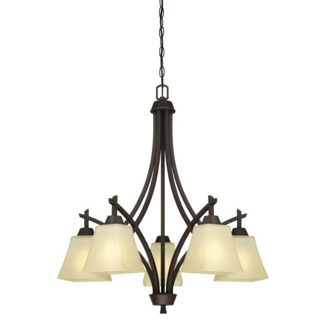 Westinghouse Midori 5 Light Oil Rubbed Bronze Chandelier With Amber Linen Glass Shades