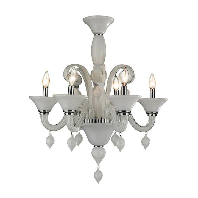 Worldwide Lighting Murano Venetian Style 6 Light Polished Chrome Hand N Glass Chandelier